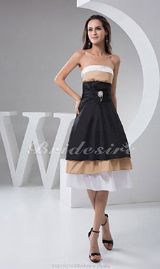 A-line Strapless Knee-length Sleeveless Taffeta Dress