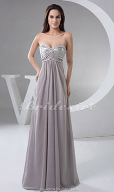 A-line Sweetheart Floor-length Sleeveless Chiffon Stretch Satin Dress