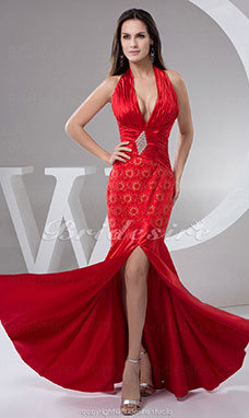 Trumpet/Mermaid Halter Floor-length Sleeveless Stretch Satin Dress