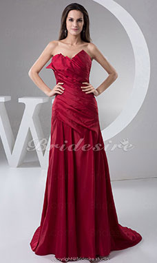 A-line Sweetheart Floor-length Sweep/Brush Train Sleeveless Taffeta Dress