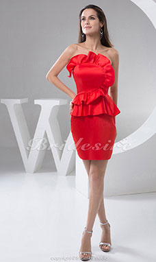 Sheath/Column Strapless Short/Mini Sleeveless Satin Dress