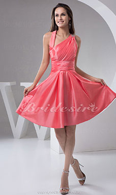A-line Straps Short/Mini Sleeveless Taffeta Dress