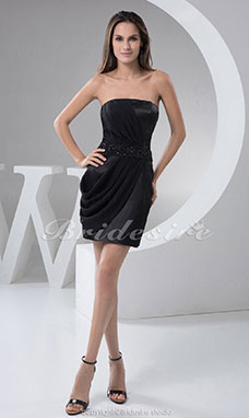 Sheath/Column Strapless Short/Mini Sleeveless Chiffon Satin Dress