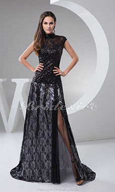 A-line High Neck Floor-length Sweep/Brush Train Short Sleeve Lace Dress