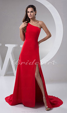 A-line One Shoulder Floor-length Sweep/Brush Train Sleeveless Chiffon Satin Dress