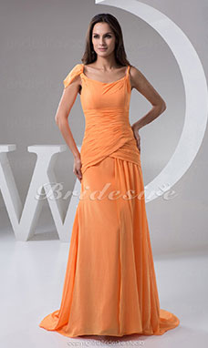A-line Scoop Floor-length Sweep/Brush Train Sleeveless Chiffon Bridesmaid Dress