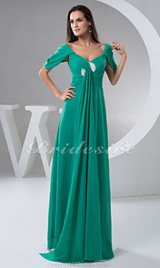 A-line V-neck Floor-length Short Sleeve Chiffon Mother of the Bride Dress