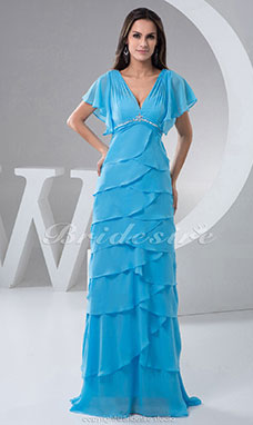 A-line V-neck Floor-length Sweep/Brush Train Short Sleeve Chiffon Dress