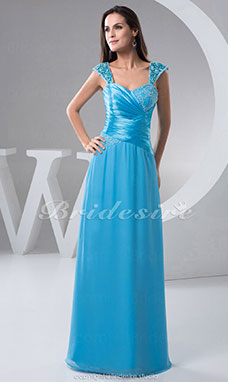 A-line Sweetheart Floor-length Short Sleeve Chiffon Satin Dress