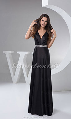 A-line V-neck Floor-length Sleeveless Satin Dress