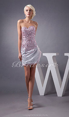 Sheath/Column Sweetheart Short/Mini Sleeveless Tulle Dress
