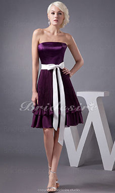 A-line Strapless Short/Mini Sleeveless Chiffon Stretch Satin Dress