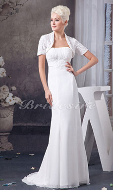 A-line Strapless Floor-length Sweep/Brush Train Sleeveless Chiffon Wedding Dress