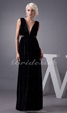A-line V-neck Floor-length Sleeveless Stretch Satin Dress
