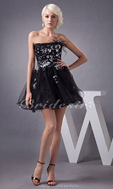A-line Strapless Short/Mini Sleeveless Tulle Dress