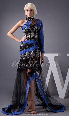 Trumpet/Mermaid Halter Sweep Train Sleeveless Tulle Dress