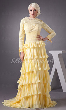A-line High Neck Sweep Train Long Sleeve Chiffon Dress