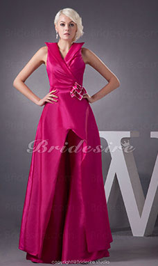 A-line V-neck Floor-length Sleeveless Taffeta Bridesmaid Dress