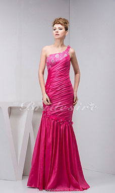 Trumpet/Mermaid One Shoulder Floor-length Sleeveless Taffeta Dress