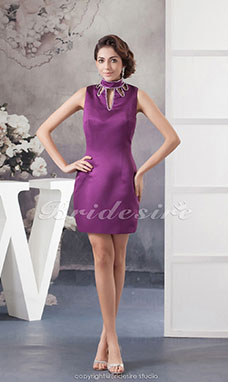 Sheath/Column High Neck Short/Mini Sleeveless Satin Dress