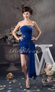 Sheath/Column Strapless Short/Mini Sleeveless Chiffon Dress