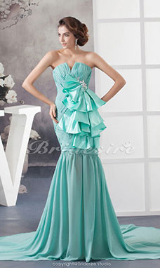 Trumpet/Mermaid V-neck Sweep Train Sleeveless Chiffon Elastic Silk-like Satin Dress