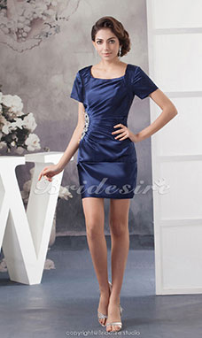 Sheath/Column Scoop Short/Mini Short Sleeve Stretch Satin Dress