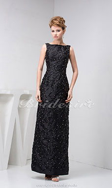 Sheath/Column Bateau Floor-length Sleeveless Satin Dress