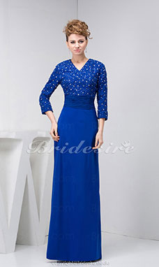 Sheath/Column V-neck Floor-length 3/4 Length Sleeve Stretch Satin Dress