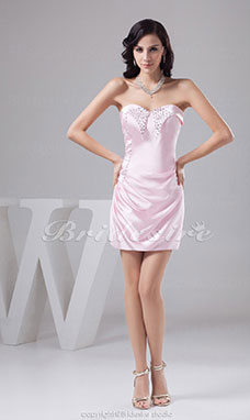 Sheath/Column Sweetheart Short/Mini Sleeveless Elastic Silk-like Satin Dress