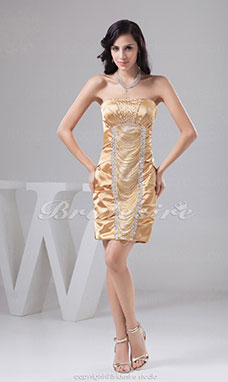 Sheath/Column Strapless Short/Mini Sleeveless Elastic Silk-like Satin Dress