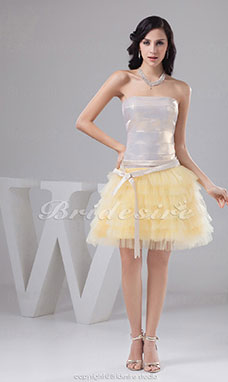 Ball Gown Strapless Short/Mini Sleeveless Taffeta Tulle Dress