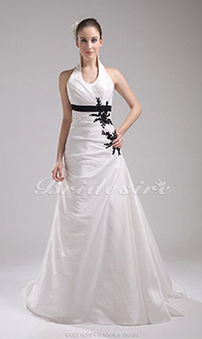 A-line Halter Court Train Sleeveless Taffeta Wedding Dress