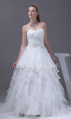 Ball Gown Sweetheart Court Train Sleeveless Organza Wedding Dress