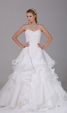A-line Spaghetti Straps Chapel Train Sleeveless Organza Wedding Dress