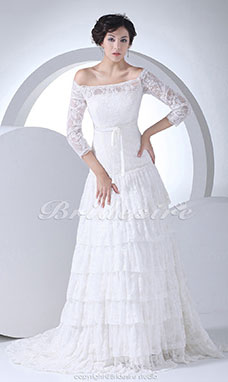 A-line Off-the-shoulder Court Train 3/4 Length Sleeve Lace Wedding Dress