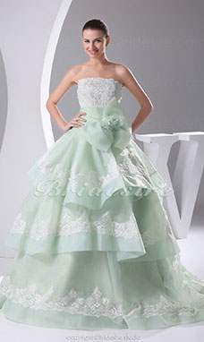 Ball Gown Strapless Court Train Sleeveless Organza Dress
