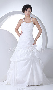 Ball Gown Halter Chapel Train Sleeveless Taffeta Wedding Dress