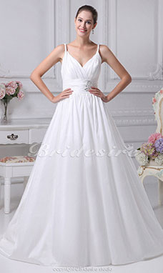 Ball Gown Spaghetti Straps Sweep Train Sleeveless Taffeta Wedding Dress