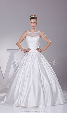 Ball Gown Bateau Chapel Train Sleeveless Satin Lace Wedding Dress