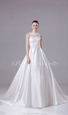 Ball Gown Bateau Court Train Sleeveless Satin Lace Wedding Dress