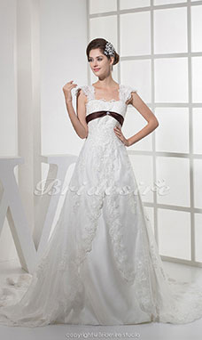 A-line Square Court Train Sleeveless Lace Wedding Dress
