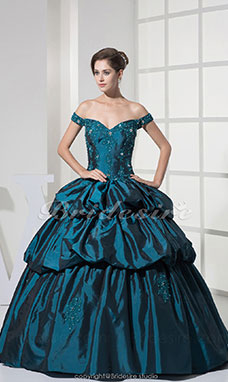 Ball Gown Off-the-shoulder Floor-length Sleeveless Taffeta Dress