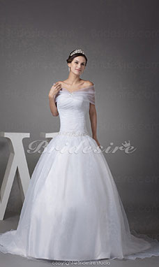 Ball Gown Off-the-shoulder Court Train Sleeveless Organza Wedding Dress