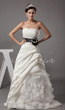 Ball Gown Strapless Sweep Train Sleeveless Satin Organza Wedding Dress