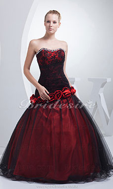 Ball Gown Strapless Floor-length Sleeveless Tulle Dress