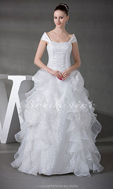 Ball Gown Off-the-shoulder Floor-length Sleeveless Organza Wedding Dress