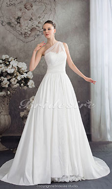 A-line One Shoulder Court Train Sleeveless Taffeta Tulle Wedding Dress