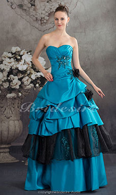 Ball Gown Strapless Floor-length Sleeveless Satin Organza Dress