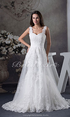 A-line Straps Court Train Sleeveless Lace Wedding Dress
